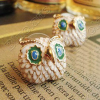 Stud big diamond studs - Retro Vintage Lovely Mini Owl with Big Eyes Diamond Cute Earrings E0128