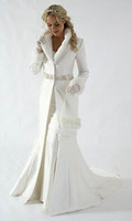 Wholesale 2012 New White Winter Wedding Dress Cloak Chapel Train Satin Long Sleeve wedding Coat for bride