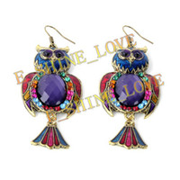 Wholesale Owl Style PairsXVintage Tibetan Bronze amp Resin Fashion Earrings er z95