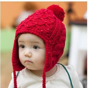 Baby Knitted Hats Beanie Attached Earflaps Pearls Knitting Patterns