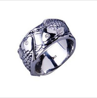 Men's Solitaire Ring  Thai silver fish every year restoring ancient ways double carps ring can make up the little finger