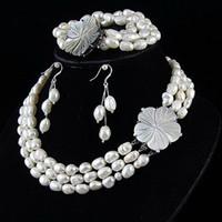 Women's aa amazing - Amazing rows jewelry set AA MM white Genuine freshwater pearl necklace bracelet earring A2388