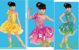 Wholesale Single shoulder lotus dance clothes Latin skirts children s performances skirt dance skirt