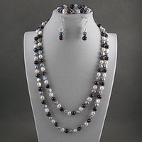 Women's aa charms jewelry - Charming pearl jewelry set AA MM mix Genuine freshwater pearl set A2395