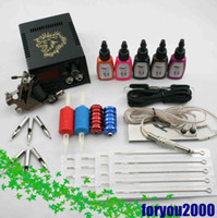 Wholesale Beginner Tattoo Kit one Machine Digital Power Supply Color Inks Grip Tip Tattoo Supply