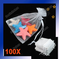Wholesale 100Pcs High quality White Sheer Organza Pouch Jewelry Gift Bags x12cm