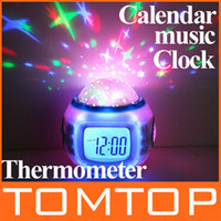 Wholesale Colorful Music Starry Star Sky Projection projector with Alarm Clock Calendar Thermometer H4962