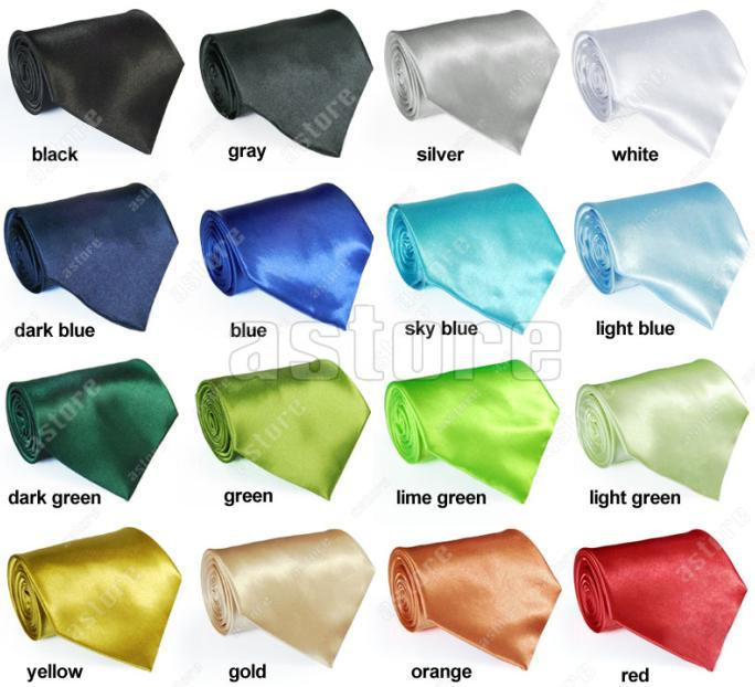 Wholesale 10 Pcs/lot + ( 25 colors in choice) New Solid Color Plain Silk Men's Tie Necktie