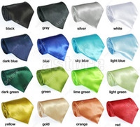 Wholesale 10 colors in choice New Solid Color Plain Silk Men s Tie Necktie