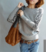 Wholesale Sweaters New stylish leopard knited bats loose fashion long sleeved sweater colors drop shipping