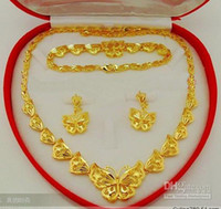 Wholesale Delicate butterflies High end bridal jewelry set K gold plated Necklace bracelet earrings