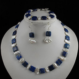 Wholesale Charming pearl jewelry set AA x18MM white Genuine freshwater pearl blue lapis A2410