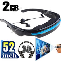 Wholesale 52 quot Virtual Screen Display Mobile Cinema Glasses Digital Video Eyewear with Earphones Built GB