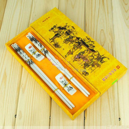 Lucky Ceramic Craft Chopstick Chinese Printing Gift Chopsticks With Packing Box 2pair  lot Free