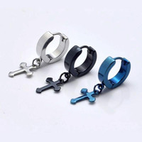 Wholesale 50pcs color Stainless Titanium Steel Cirle Simple Cross Men s Earrings Stud