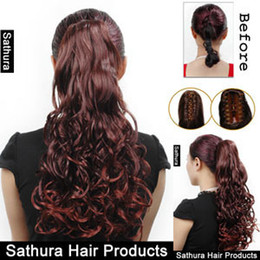 Wholesale hair pieces hairpieces Claw Clip On In quot Long Curly Auburn Ponytail wigs