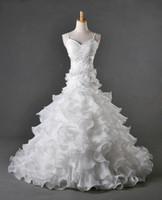 Ball Gown Real Photos Portrait Real product picture sample spaghetti strap organza applique white bridal dress wedding dress