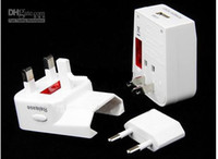 Wholesale 4 in Universal Worldwide Travel AC Power Adaptor Adapter Plug USB Converter Plugs amp Sockets