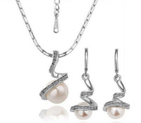 Wholesale Top Set Siver Special Pearl Jewelry Set Fashion Earrings Fashion Jewelry Silver Pendant Necklace