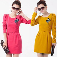 Wholesale fashionable ladies commuter puff sleeved folds corsage career women dress colors available