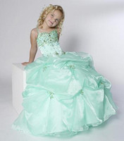 Wholesale Custom made New Arrival Ball gown Spaghetti Strap Beading Sequins Organza Flower Girl Dresses A960