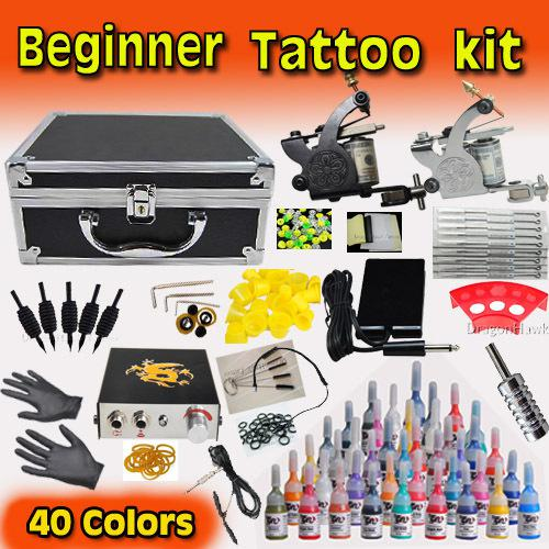 Beginner tattoo kit 2 machines power supply inks pigment for Best tattoo starter kit
