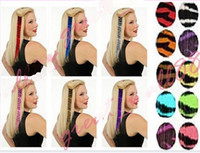 Wholesale synthetic print Clip in feather hair extension multi colour print hair promotion sale NMJK2