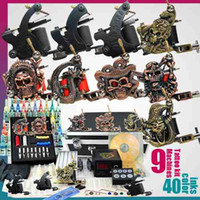 9 gun Professional Kit tattoo kit Tattoo Kit 9 Machine Guns 40 Colors Inks Pigment Equipment LED Power Supply
