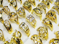 African Unisex Party Ring Jewely Fashion Rings 50pcs lot CZ Crystal Gold P Ring Fashion Rings Jewelry [CZ51*50]