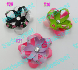 free shipping 50pcs pretty petal flower clip new loopy flower clips mix color baby hair bows cream