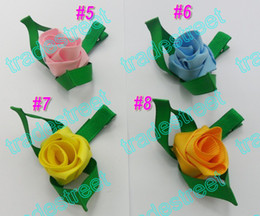 free shipping 160pcs pretty petal flower clip new loopy flower clips mix color baby hair bows white