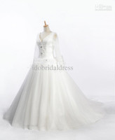 Ball Gown Real Photos V-Neck Real product picture sample V neckline long sleeve wedding gown bridal dress wedding dress