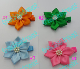free shipping 50pcs pretty petal flower clip new loopy flower clips mix color baby hair bows yellow