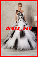 Wholesale 2012 NEW Ball Gown Ruffles Black and White Lace Party Prom Bridesmaid Wedding Dresses Evening Gowns