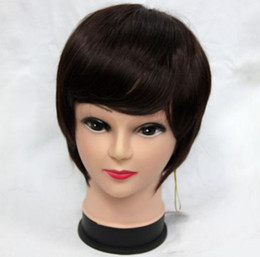 Wholesale 5pcs set new lady short full Synthetic Hair Wigs wig free wig cap dark brown A001