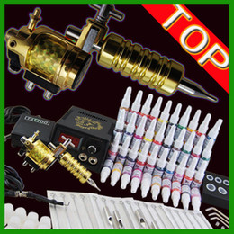 Wholesale Tattoo Kit Golden Motor Machine Gun Power Needles Ink Pigment Ink Cups Gromments