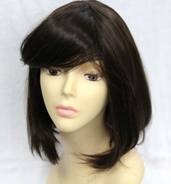Wholesale 5pcs set new lady short full straight hair wig wigs party free wig cap RL