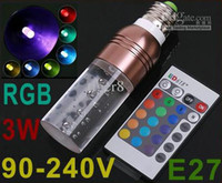 Wholesale 5pcs Color RGB E27 W V Crystal LED Light Bulb With Remote Control Brown Green Purple
