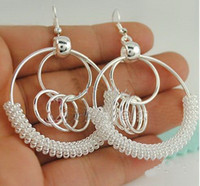 Wholesale 20pcs Basketball Wives Big Hoop Earring Interlocking circle earrings Circle earrings Silver earrin