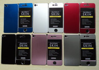 Wholesale 60pcs DHL Free Front Back Aluminum Skin Sticker Metal case for iPhone S g hard cover phone parts