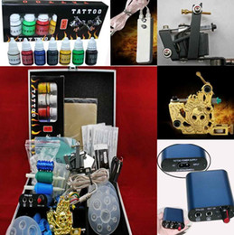 Wholesale Blue MIN Power Supply Tattoo Kit W Case Guns Inks Grips Tips Needles Tattoo Supply
