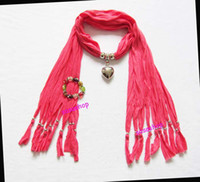 Wholesale 12pcs newest scarf winter new design with jewelry pendant scarf new fashion necklace scarves
