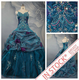 Wholesale In Stock Fashion Spaghetti Ball Gown Embroidery Beaded Organza Quinceanera Dresses For US Size