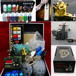 Wholesale 2 Guns LED Power Supply Tattoo Rotary Machine Kit Case Inks Grip Tip Accessory Cool