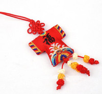 Wholesale Car Christmas Ornament Hanging Chinese knot Silk Embroidery Small Decorative Crafts mix Free