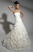 Wholesale Christmas Taffeta Organza Mermaid Skirt Wedding Dress Bridal Dress Ball Gown Evening DressNO
