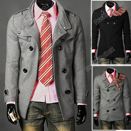 Wholesale Men Slim Designed Coat Hot Stylish Woolen Double Pea Topcoat Outerwear