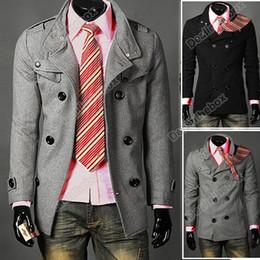 Wholesale Men Slim Designed winter warm Coat Hot Stylish Woolen Double Pea Topcoat Outerwear