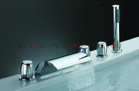 Wholesale Waterfall faucet for tub Bathroom Pure Brass Sink Tap with hand shower Cold and Hot Mixer NY02734B