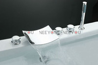 Wholesale Waterfall faucet for bathtub holes Bathroom sink faucet with hand shower chrome finish NY02732B